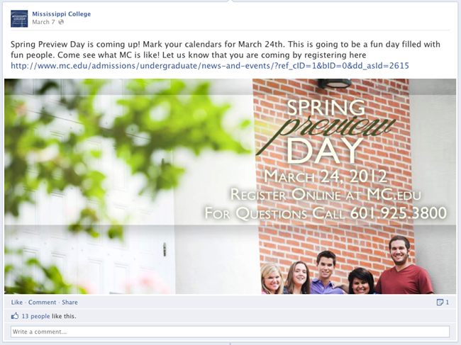 Mississippi College Highlighting in Facebook