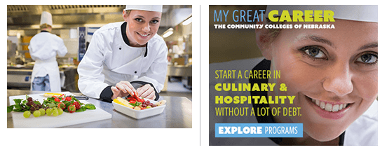 Stock Photography and Nebraska Community College Culinary Ad